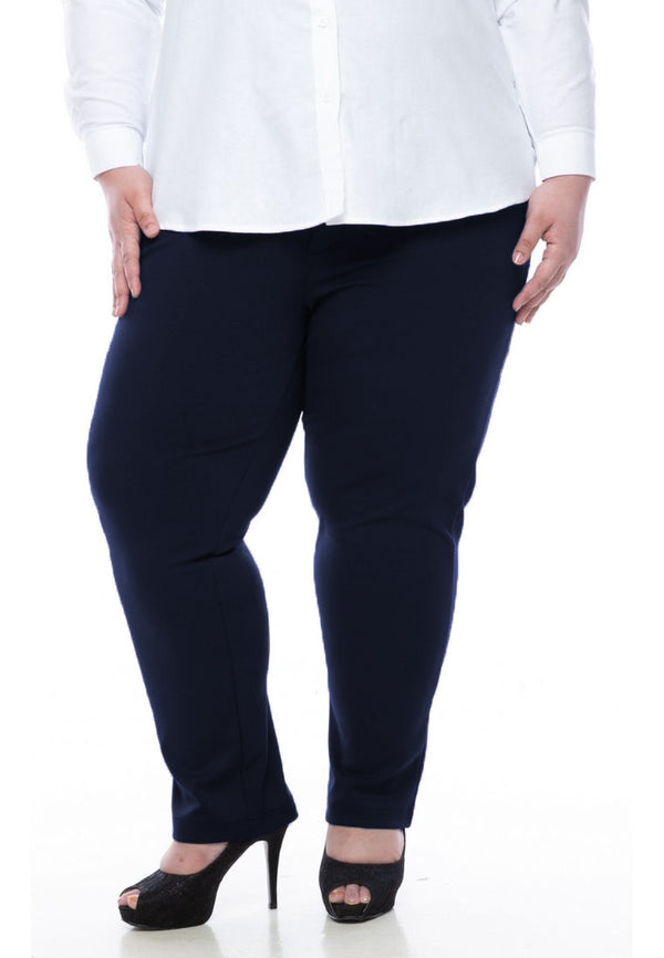 seluar wanita saiz besar plus size women pants roma stretchable slack in navy blue #Color_Roma Navy Blue