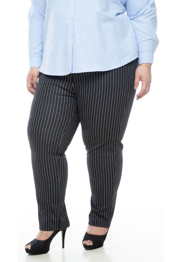 seluar wanita saiz besar plus size women pants roma stripes in black #Color_Black