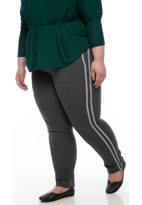 seluar wanita saiz besar plus size women pants stretchable jogger pants in dark grey #Color_Dark Grey