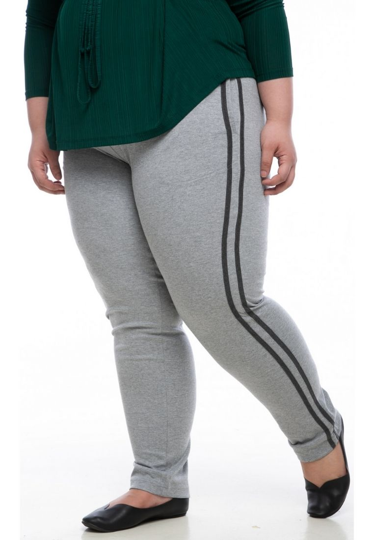 seluar wanita saiz besar plus size women pants stretchable jogger pants in light grey