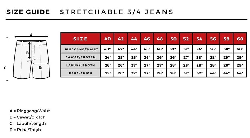 Plus Size 3/4 Jeans Stretchable in Blue