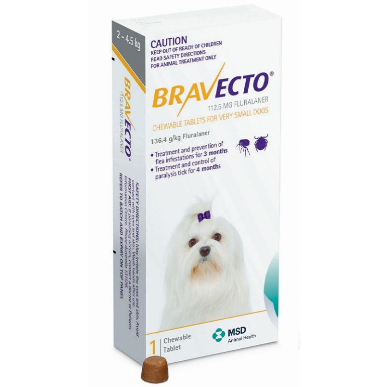 Bravecto Very Small Dog Yellow 2-4.5Kg 1 Pack | Live Healthy Store HK - Bravecto / Veterinary and Pet Care