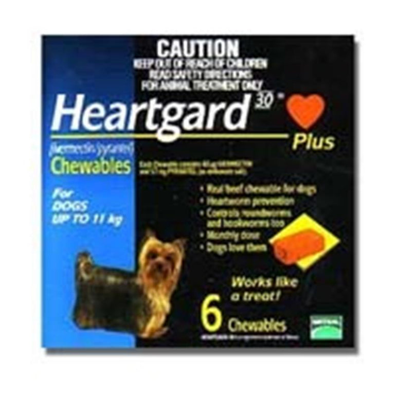 Heartgard 30 Plus Chewables for dogs up to 11kg (Blue) 6 pack | Live Healthy Store HK - Heartgard / Veterinary and Pet Care