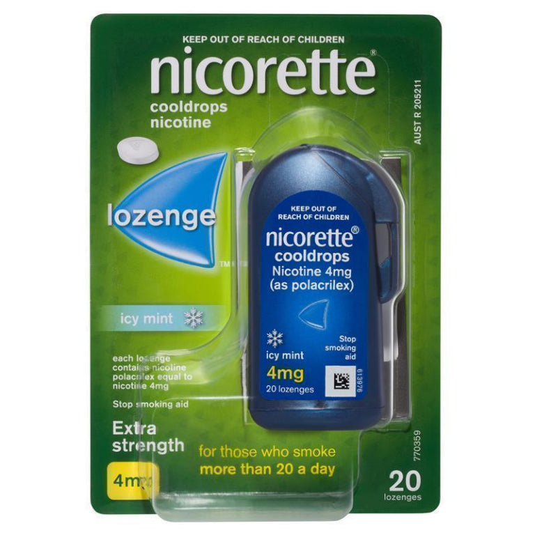 Nicorette Quit Smoking Cooldrops Lozenges Extra Strength Icy Mint 4mg 20 Pieces | Live Healthy Store HK - Nicorette / Medicines