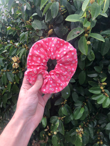 Pink Flower Scrunchie