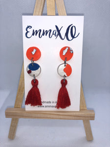 Orange Tassel Dangles