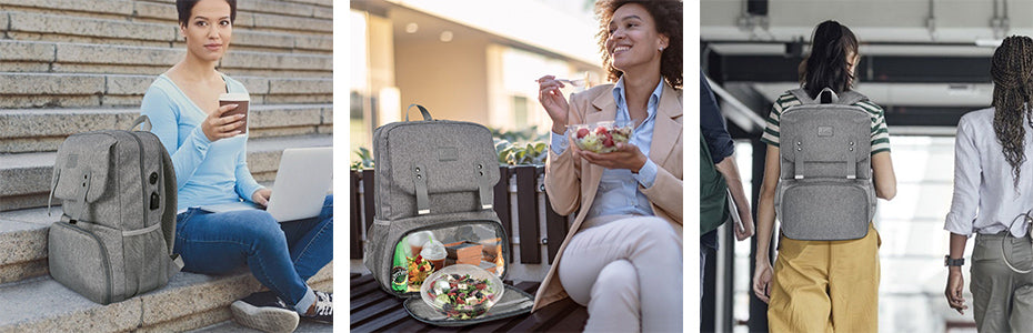 Matein Bookbag with Lunch Box-Lunch Backpack