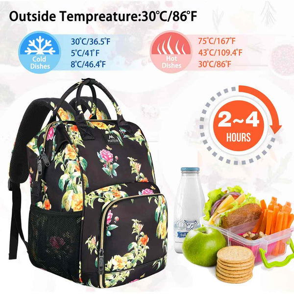Matein Floral Lunch Box Laptop Backpack