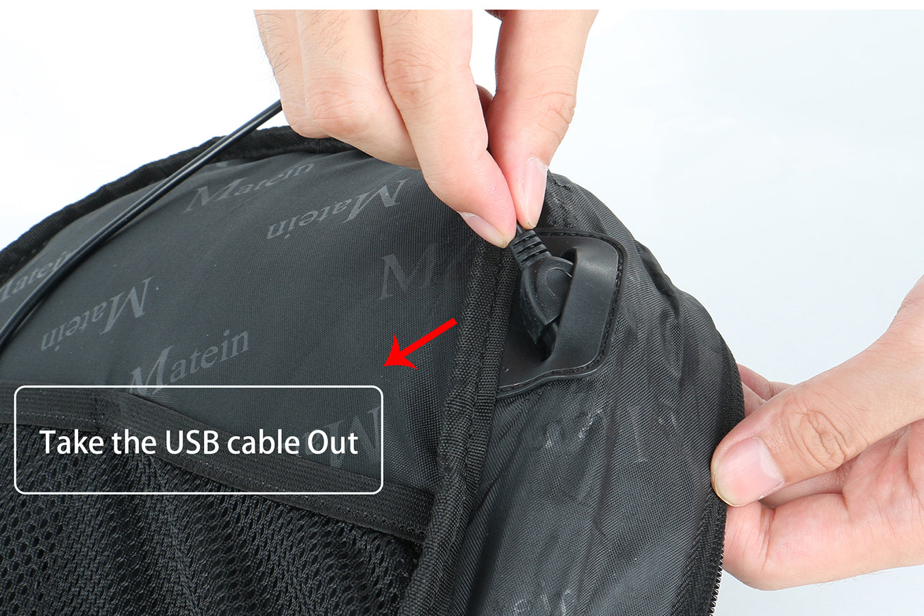 Instructions to remove usb cable of Matein Backpack