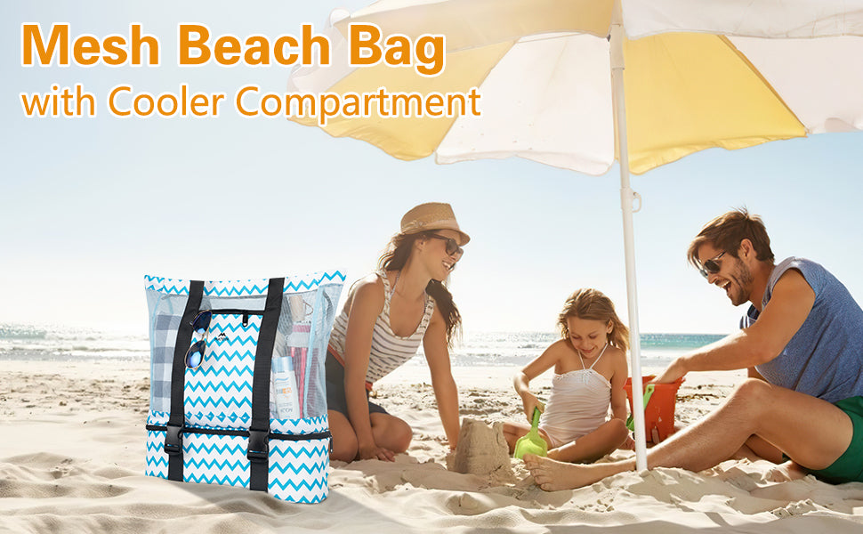 Matein Mesh Beach Bag with cooler compartment