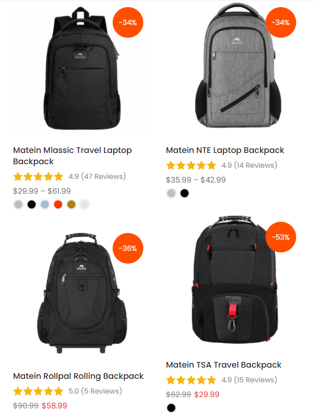 Matein best seller backpack