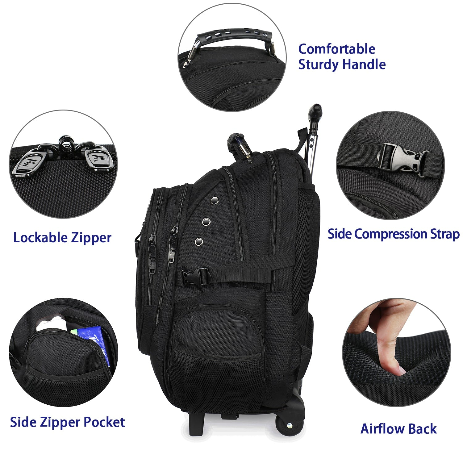 Matein Large Technology Rolling Backpack