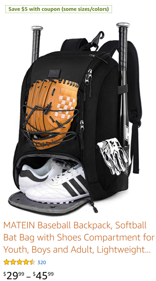 matein baseball backpack