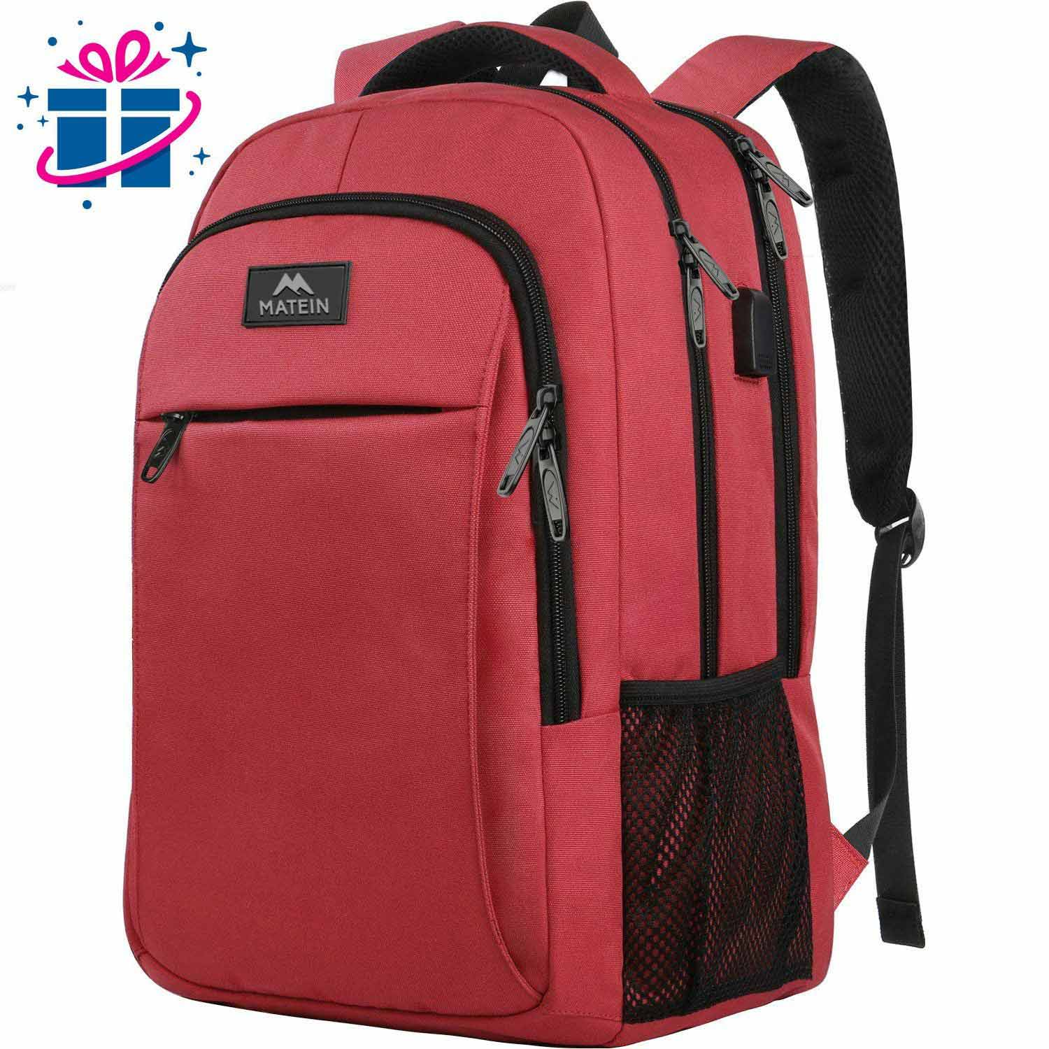Matein Mlassic Travel Red Laptop Backpack - travel laptop backpack