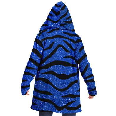 Glitter Blue Tiger Striped Cloak Hoodie