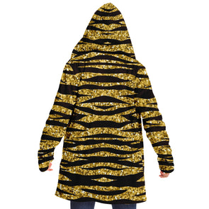 Glitter Gold Tiger Striped Cloak Hoodie