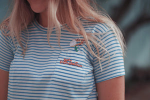 Lady Dandelion Embroidered Tee - Sea Stripe