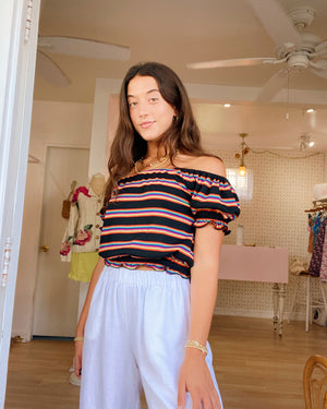Penny Lane Top - Rainbow Stripe