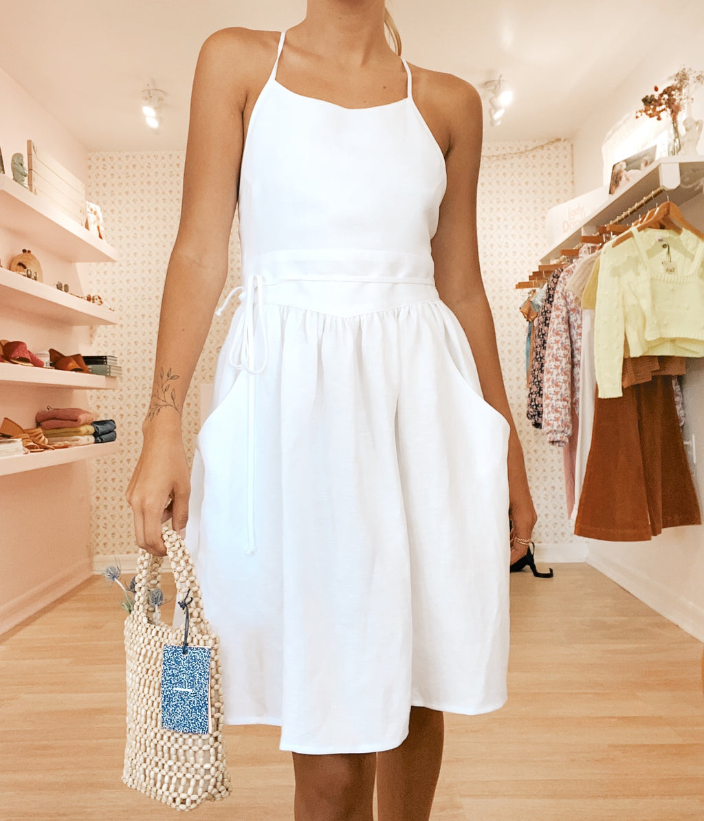 Short Dandelion Dress - White Linen