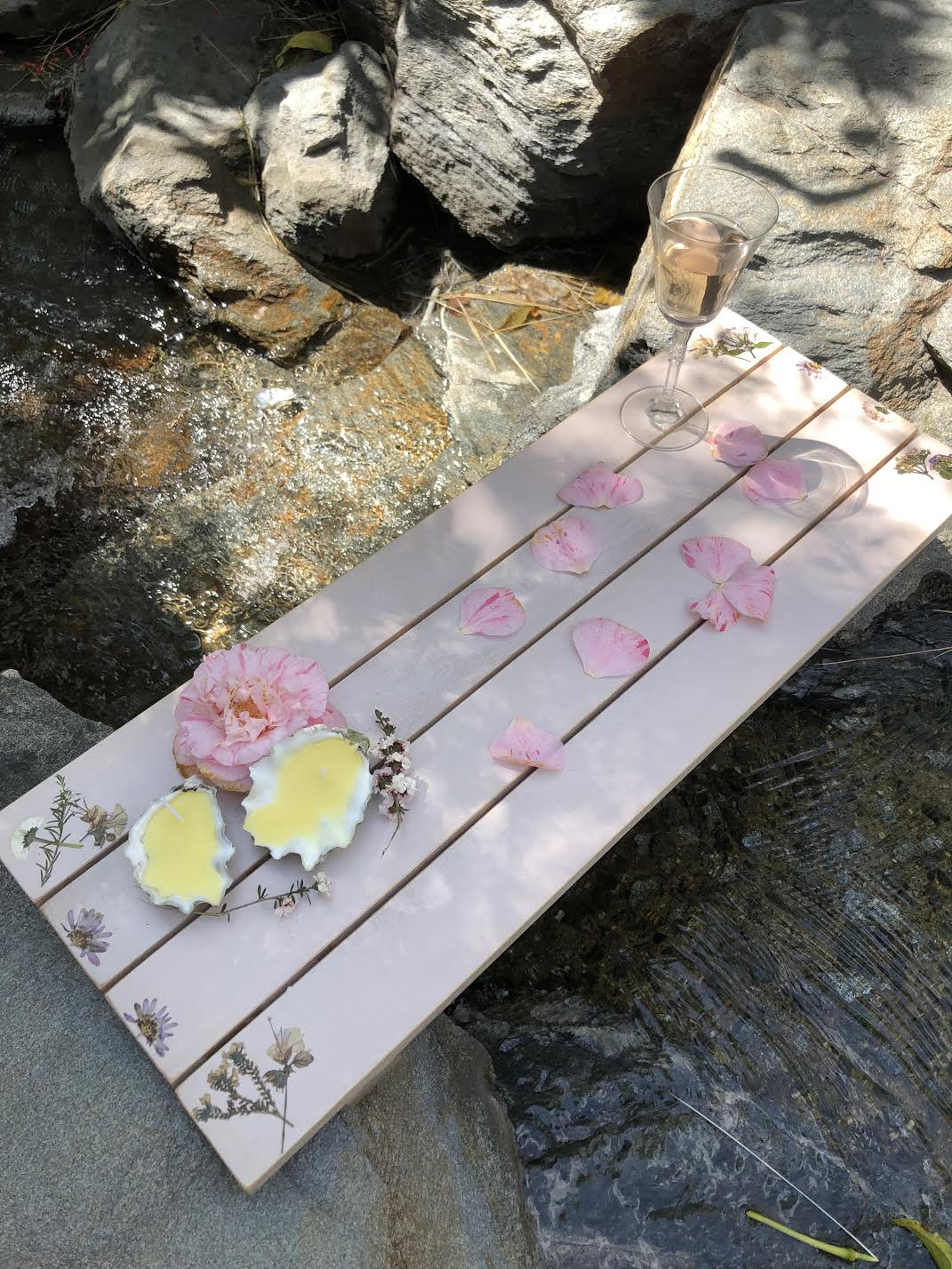 Handmade painted wood bath tray with pressed flowers