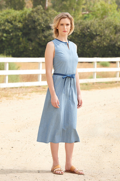 FARAWAY DRESS - Chambray/Midnight