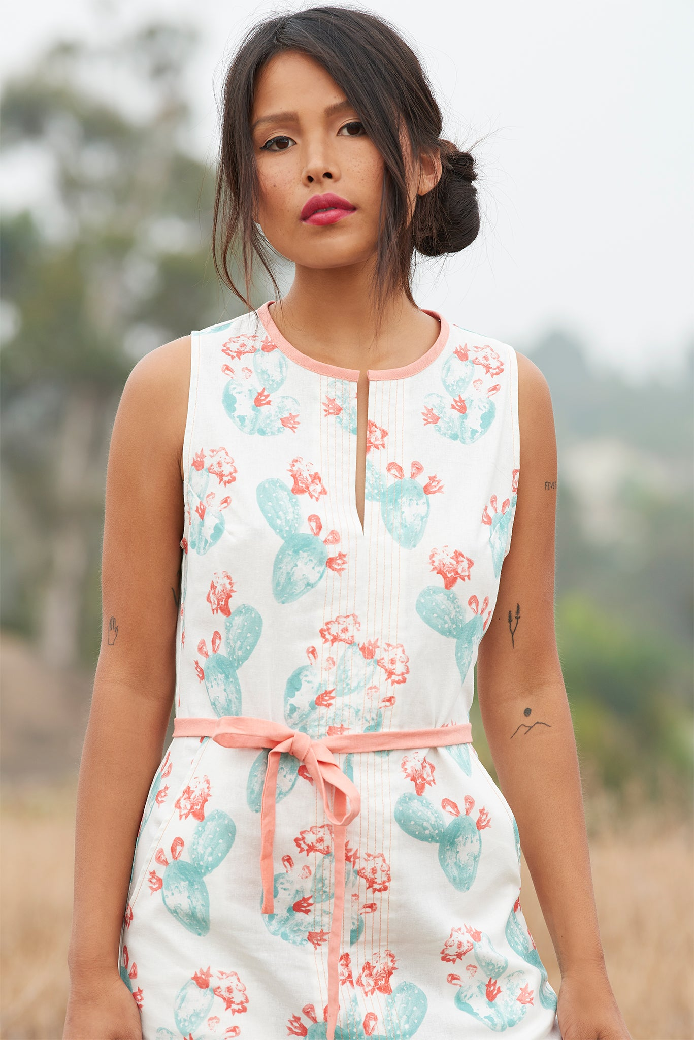 FARAWAY DRESS - Prickly Pear Print