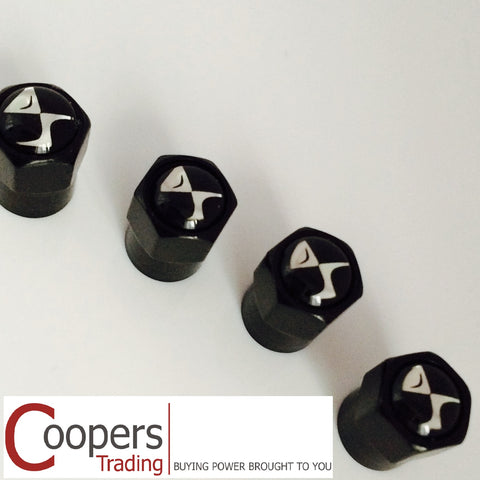 Citroen DS Black Metal Dust Valve Caps - Whiztek Ltd