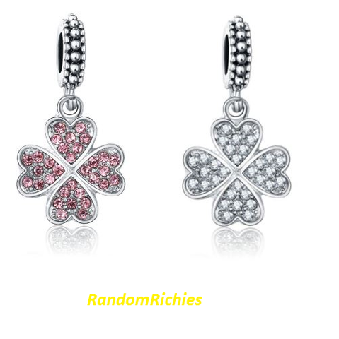 Four Leaf Clover White,Pink Rhinestone Dangle Charm
