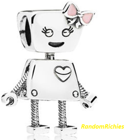 Robot Pink Bow Girl Charms/Beads