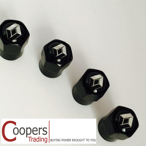 Renault Black Metal Dust Valve Caps - Whiztek Ltd