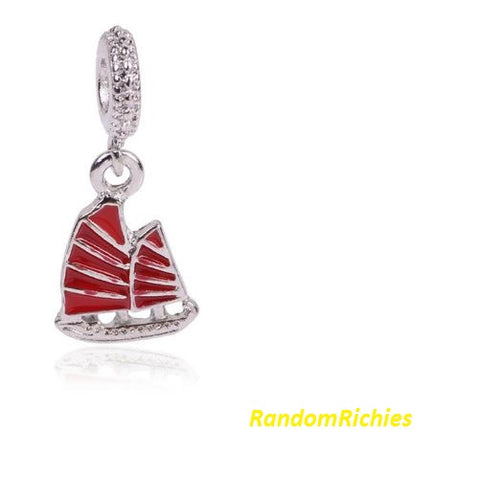 Sailboat Yacht Holiday Red Charm/Bead