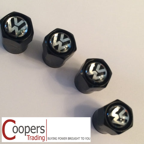 VW Volkswagen Black Metal Dust Valve Caps - Whiztek Ltd