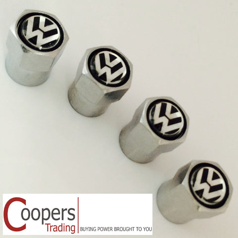 VW Volkswagen Chrome Black Dust Valve Caps - Whiztek Ltd