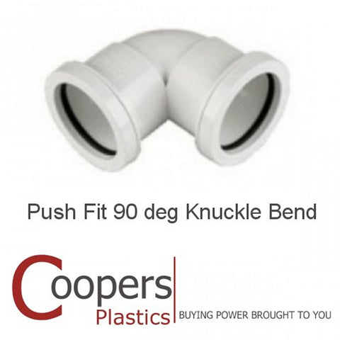 Push Fit Waste 90 degree 32mm 40mm Knuckle Bend