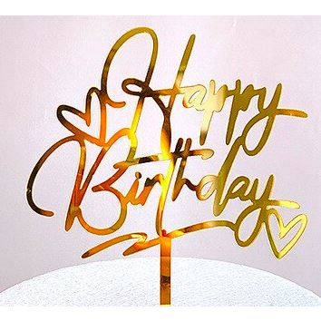 CAKE TOPPER HAPPY BIRTHDAY COEUR OR