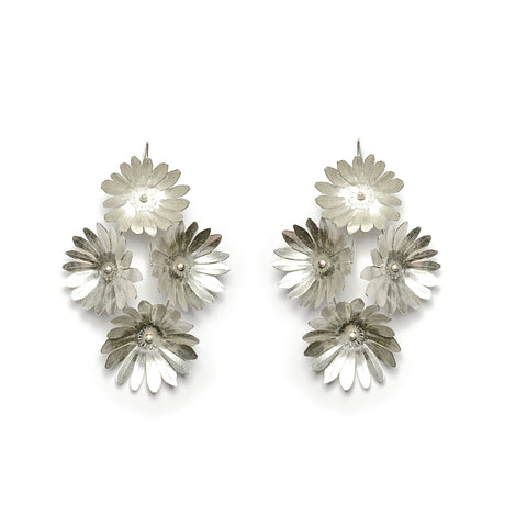 Fiori Earrings - 4 - Silver