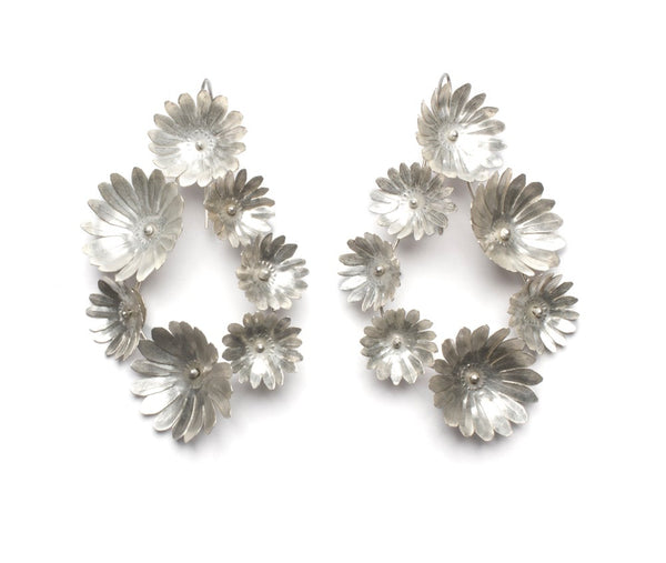 Fiori Earrings - 7 - Silver