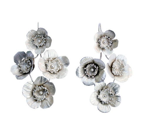 Fiori Springtime Earrings - 4 - Silver