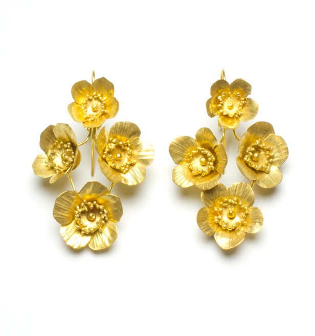 4-Fiori Springtime Earrings- Golden