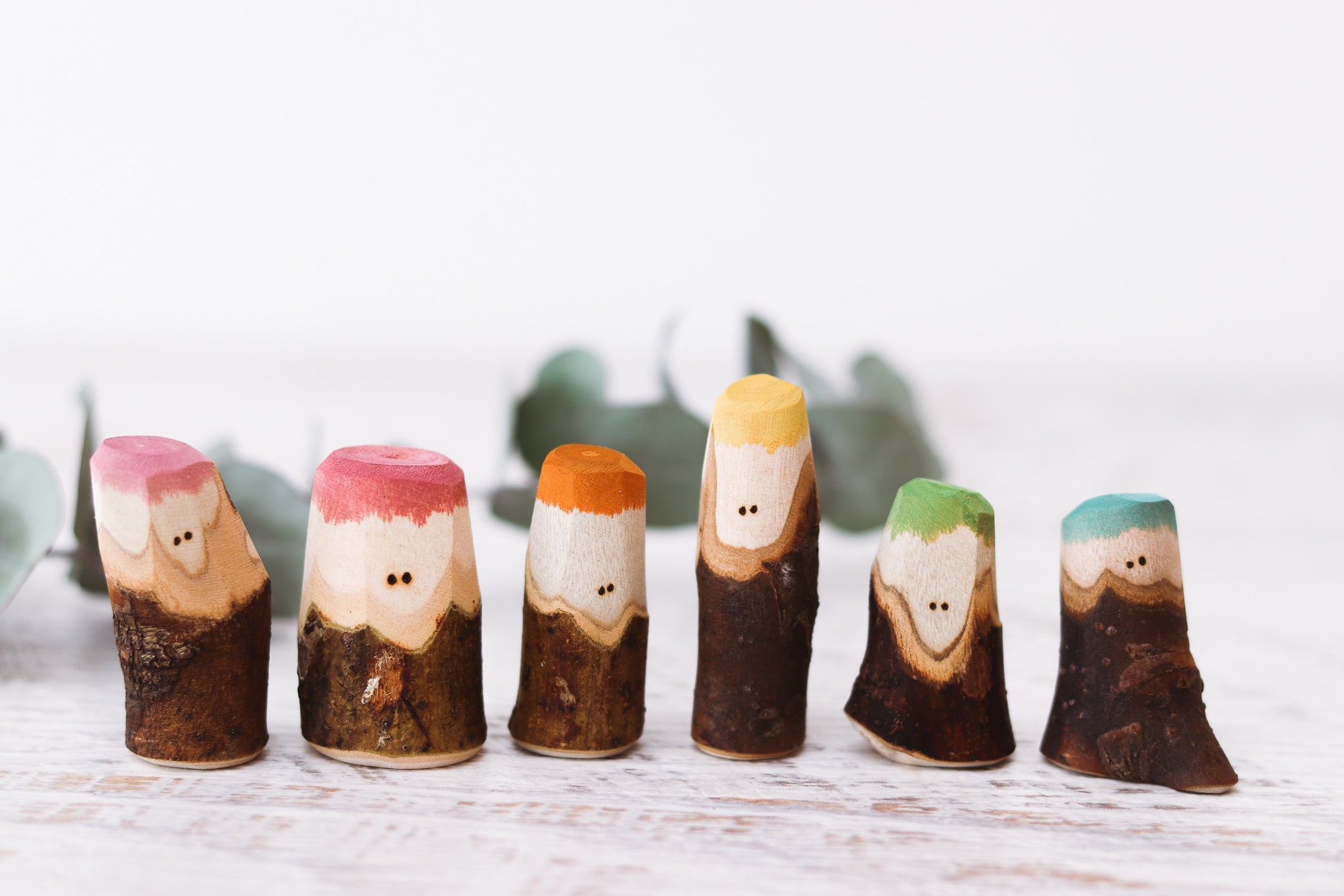 The Mini Tree People - Earth Rainbow Family of 6 by Peekasense - Malaysia