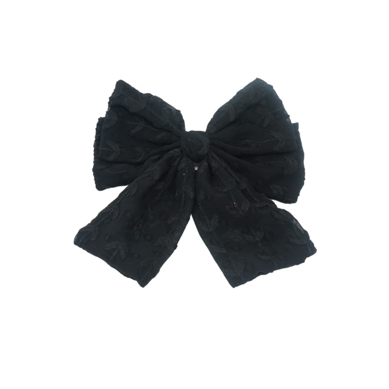 Monochrome Floral Large Bow Hair Clip