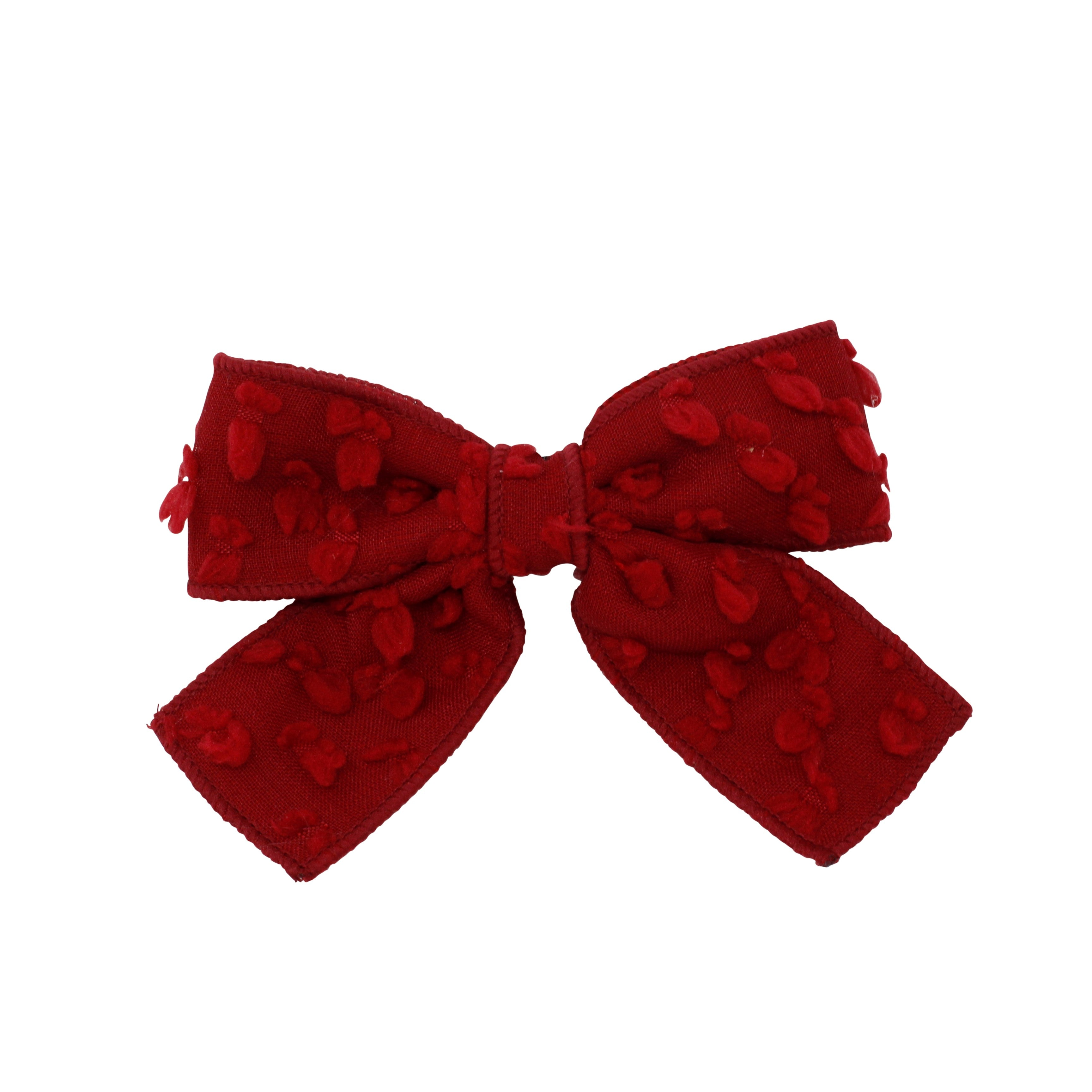 Dotted Wool Bow Hair Clip