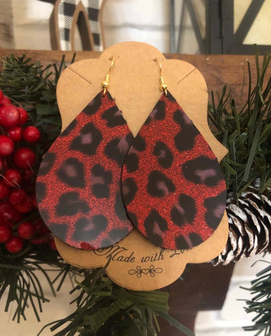 Red leopard glitter gloss earrings