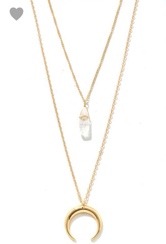 Mila Crescent Moon & Gem necklace