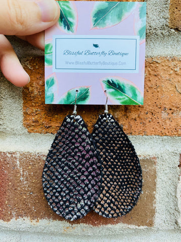 Black/Silver Snakeskin Earrings