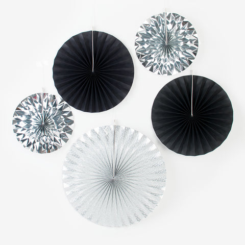 5 paper fans - Black and Silver