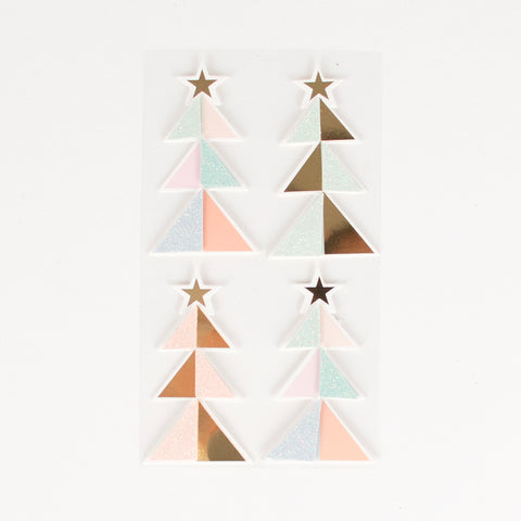Christmas tree shaped stickers - Pastel