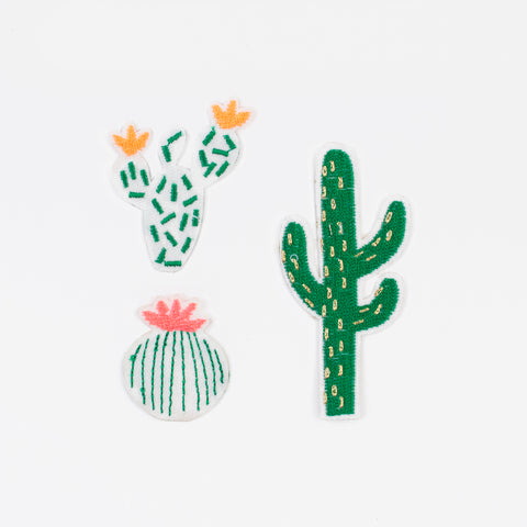 3 Iron on patches - Cactus