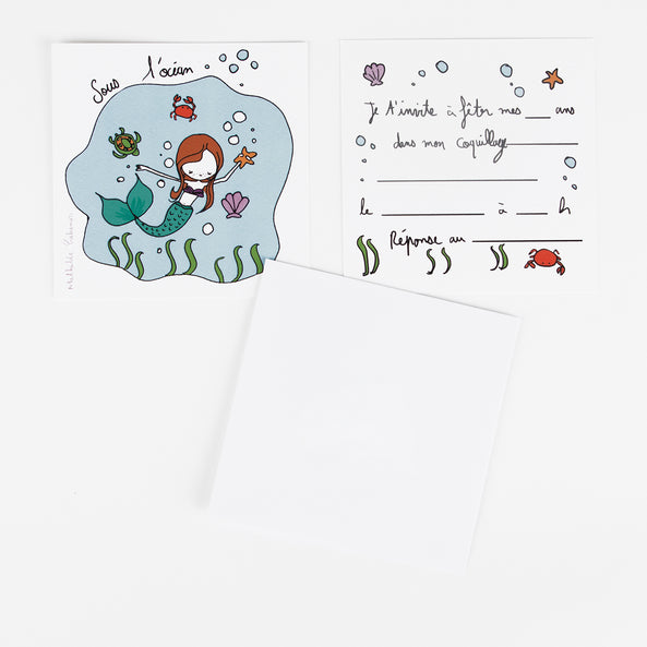 6 Invitations : Mermaid - M. Cabanas