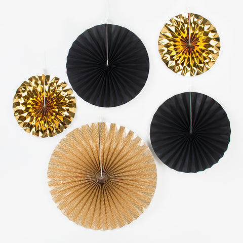 5 paper fans - Black and Gold